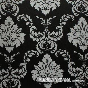 欧式墙纸 黑色大马士革英伦风