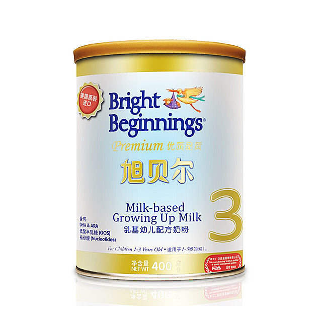 旭贝尔(Bright Beginnings) 乳基幼儿配方奶粉3段 400g