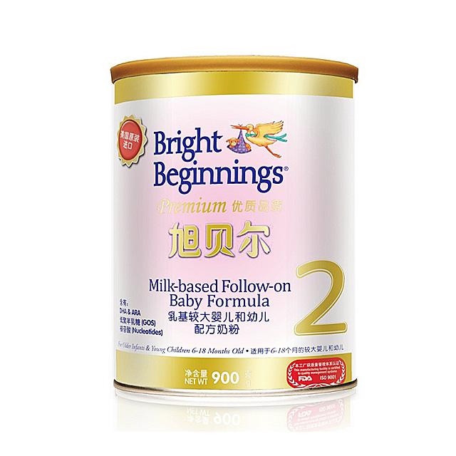 旭贝尔(Bright Beginnings) 乳基较大婴儿及幼儿配方奶粉2段 900g