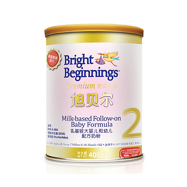旭贝尔(Bright Beginnings) 乳基较大婴儿及幼儿配方奶粉2段 400g