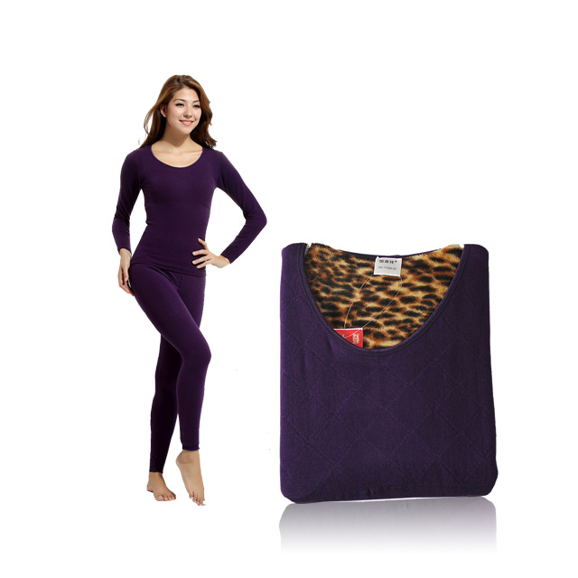 恒源祥 女款保暖内衣套装 紫色