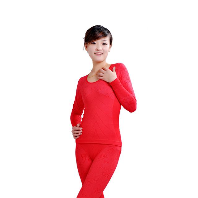 恒源祥 女款保暖内衣套装 8328 红色