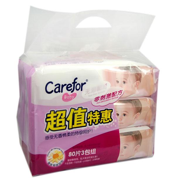 爱护 婴儿无香棉柔湿巾(80片3包组) ×2袋