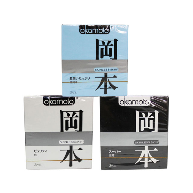 冈本(Okamoto) skin系列避孕套 极限超薄之纯3只+至尊3只+超润滑3只