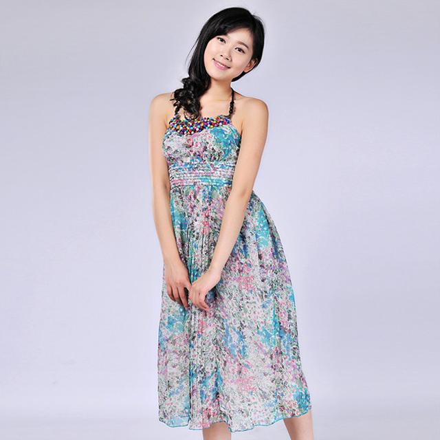 艾莲达(AILANDA) 甜美吊带雪纺碎花连衣裙 ABC23121