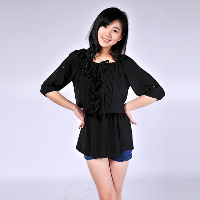 艾莲达(AILANDA) 时尚露肩扎花束腰雪纺通勤衬衫 ABB1254