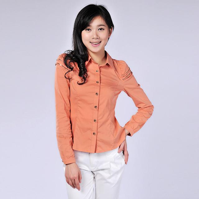 艾莲达(AILANDA) 时尚泡泡袖修身百搭通勤衬衫 ABB3131