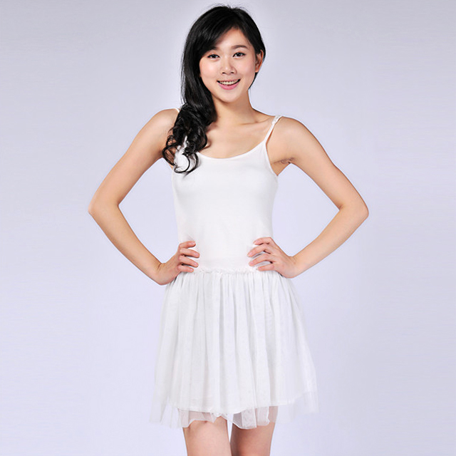 艾莲达(AILANDA) 吊带拼接打底纱裙甜美连衣裙 ABC2205