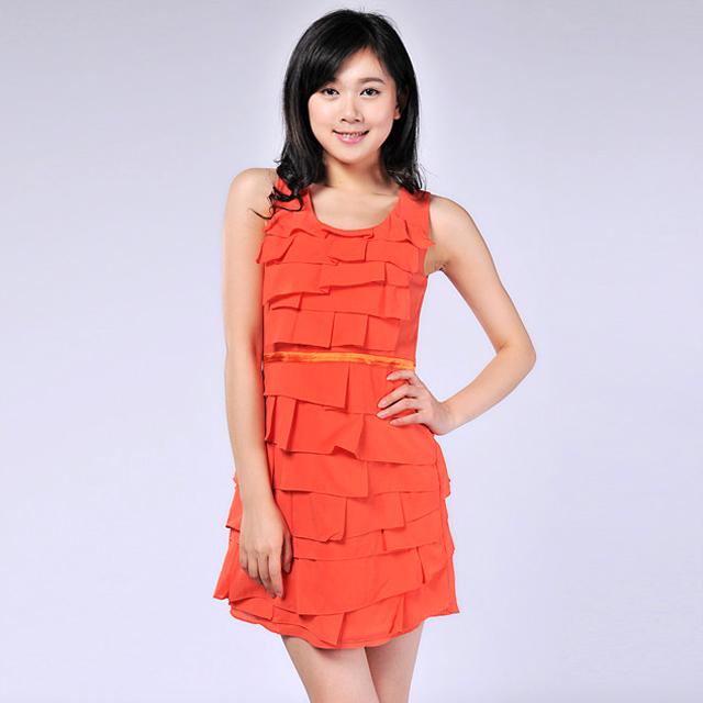 艾莲达(AILANDA) 圆领无袖百褶波浪OL气质收腰连衣裙 ABC2260