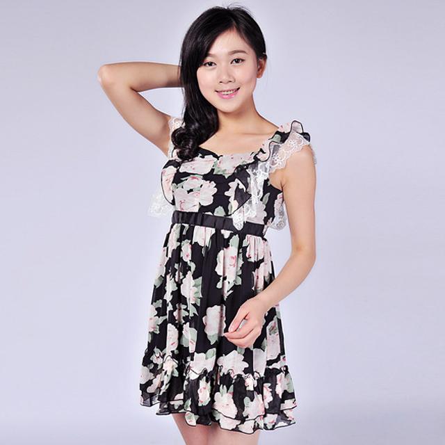 艾莲达(AILANDA) 复古大花图案雪纺高腰连衣裙 ABC23133