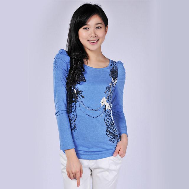 艾莲达(AILANDA) 修身蕾丝镶砖蝴蝶结泡泡袖长袖针织衫 ABS1202