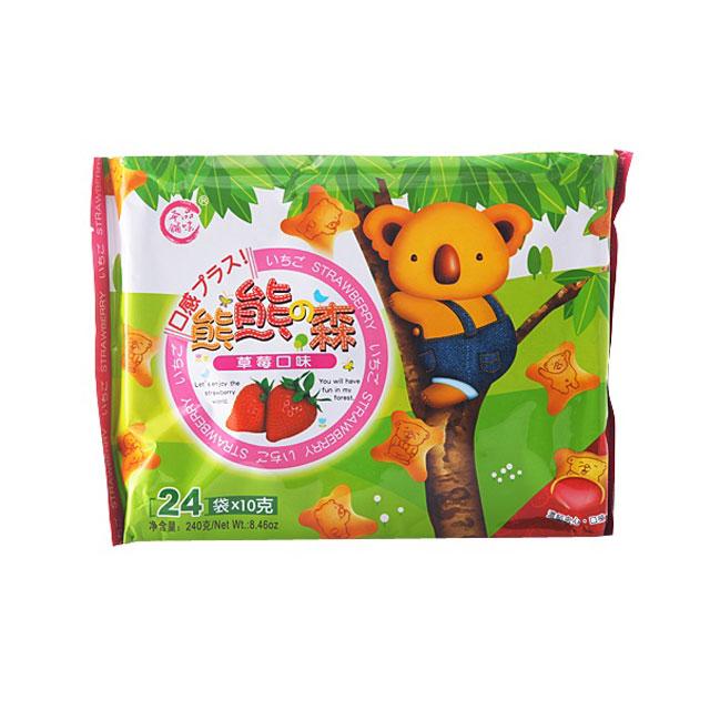 品味本铺 熊熊森草莓灌心饼 240g ×3袋