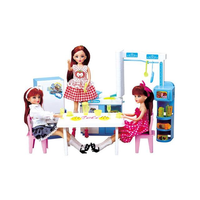 乐吉儿(Lelia) 梦幻厨房芭比娃娃女孩玩具套装礼盒 H21A