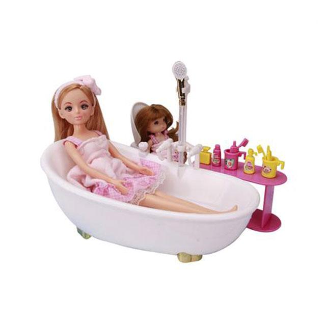 乐吉儿(Lelia) 梦幻迷你浴室芭比娃娃女孩玩具套装礼盒 H22C