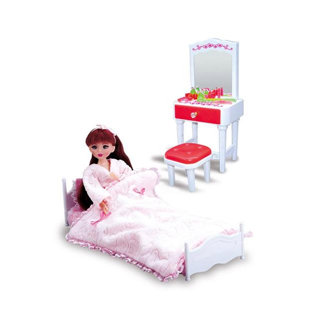 乐吉儿(Lelia) 梦幻房间芭比娃娃女孩玩具套装礼盒 H26A-3(梦幻梳妆台和睡床)