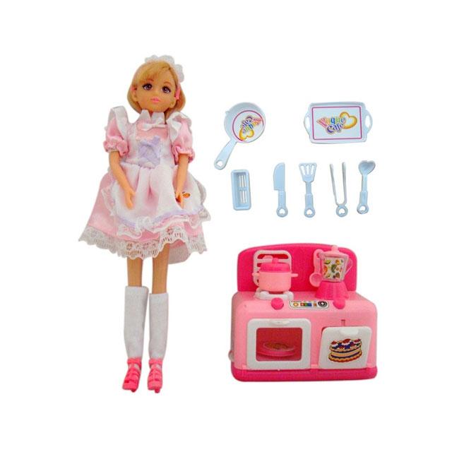 乐吉儿(Lelia) 梦幻小厨房系列橱柜模式芭比娃娃女孩玩具礼盒 H27A-1