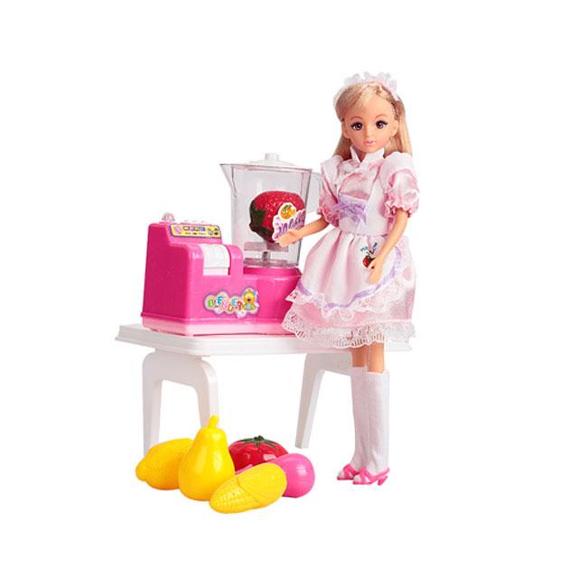 乐吉儿(Lelia) 梦幻小厨房系列榨汁机模式芭比娃娃女孩玩具礼盒 H27A-3