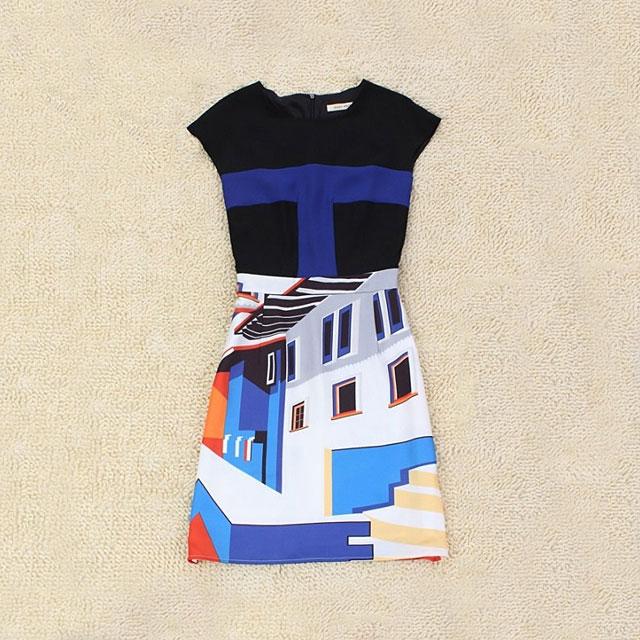 明星同款欧洲站圆领修身显瘦印染撞色连衣裙(高圆圆同款)