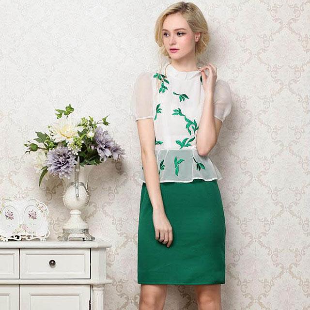 雪纺高端连衣裙/欧美大牌OL短袖包臀裙子