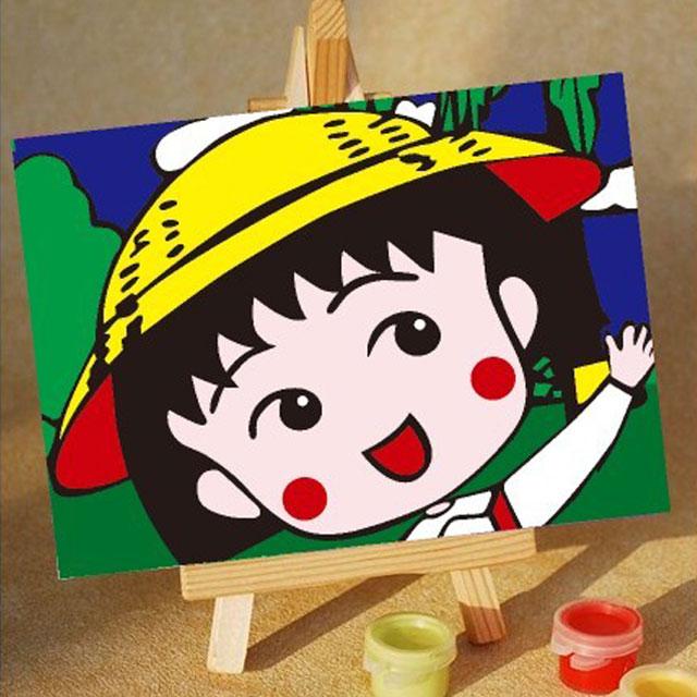 舞动色彩 DIY数字油画 樱桃小丸子 10×15cm(手绘油画 创意家居)