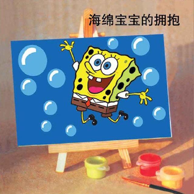 舞动色彩 DIY数字油画 海绵宝宝的拥抱 10×15cm(手绘油画 创意家居)
