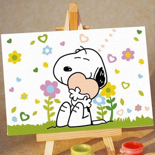 舞动色彩 DIY数字油画 三色花开 10×15cm(手绘油画 创意家居)