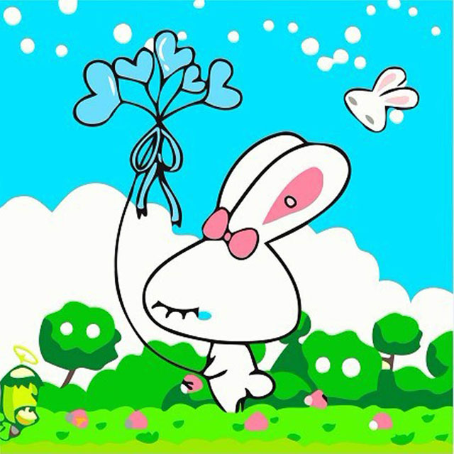 舞动色彩 DIY数字油画 兔宝宝 25×25cm(手绘油画 创意家居)