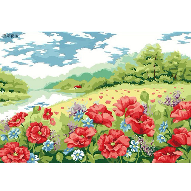 舞动色彩 DIY数字油画 罂粟花园 30×40cm(手绘油画 创意家居)