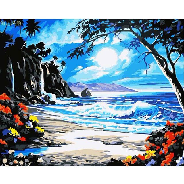 舞动色彩 DIY数字油画 海之风韵 40×50cm(手绘油画 创意家居)