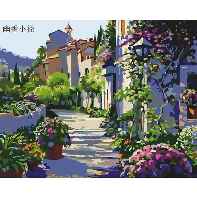 舞动色彩 DIY数字油画 幽香小径 40×50cm(手绘油画 创意家居)
