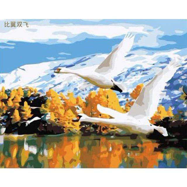 舞动色彩 DIY数字油画 比翼双飞 40×50cm(手绘油画 创意家居)