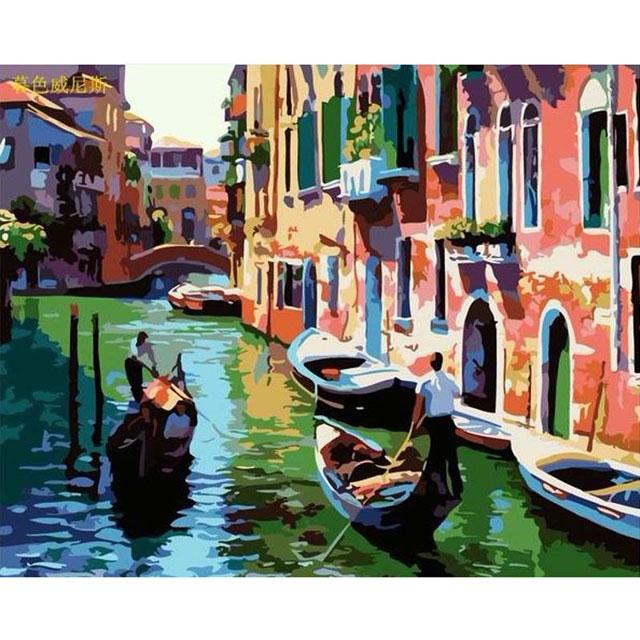 舞动色彩 DIY数字油画 暮色威尼斯 40×50cm(手绘油画 创意家居)