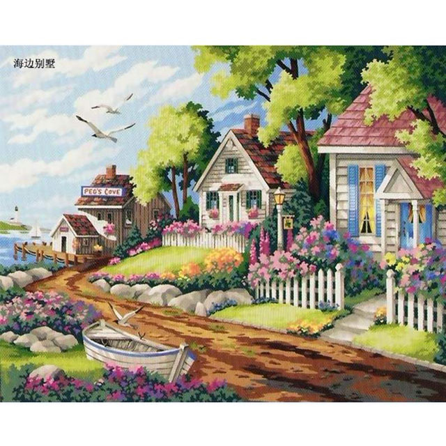 舞动色彩 DIY数字油画 海边别墅 40×50cm(手绘油画 创意家居)