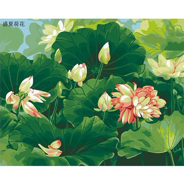 舞动色彩 DIY数字油画 盛夏荷风 40×50cm(手绘油画 创意家居)
