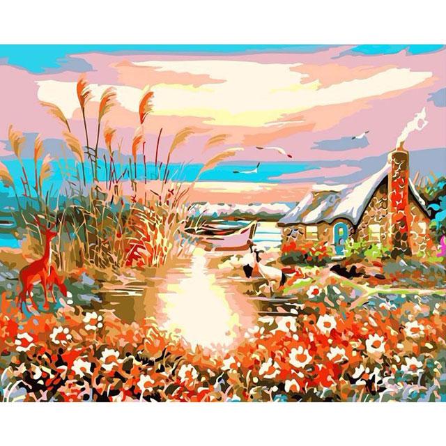 舞动色彩 DIY数字油画 夕阳风景 40×50cm(手绘油画 创意家居)