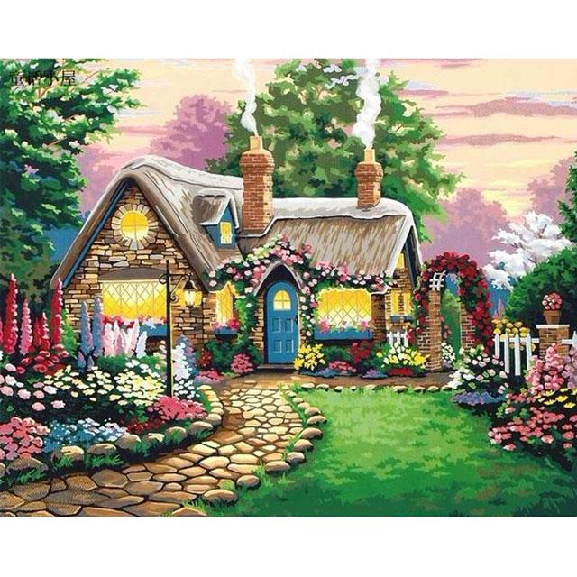 舞动色彩 DIY数字油画 童话小屋 40×50cm(手绘油画 创意家居)