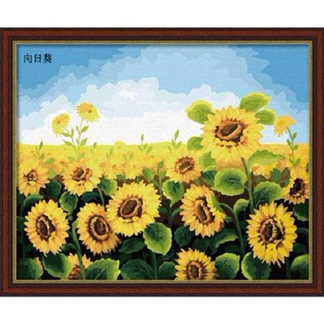 舞动色彩 DIY数字油画 向日葵 40×50cm(手绘油画 创意家居)