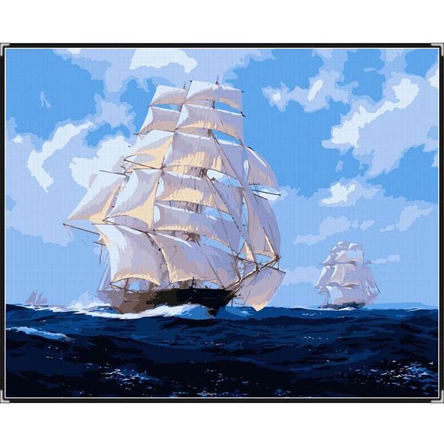 舞动色彩 DIY数字油画 一帆风顺 60×75cm(手绘油画 创意家居)