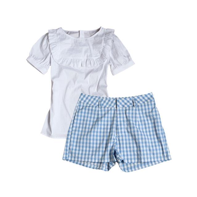 明星同款女装娃娃款上衣格子短裤小清新套装(孙俪同款)