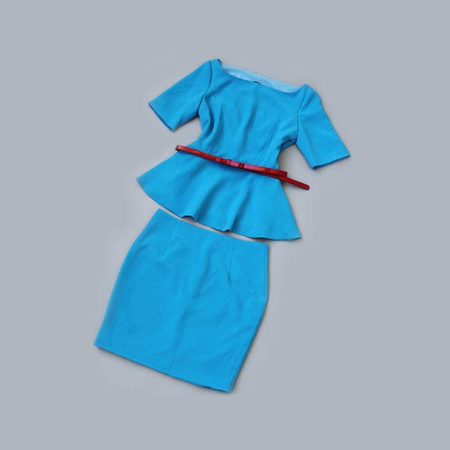 明星同款中袖裙摆式上衣半身裙职业套装(范冰冰同款)