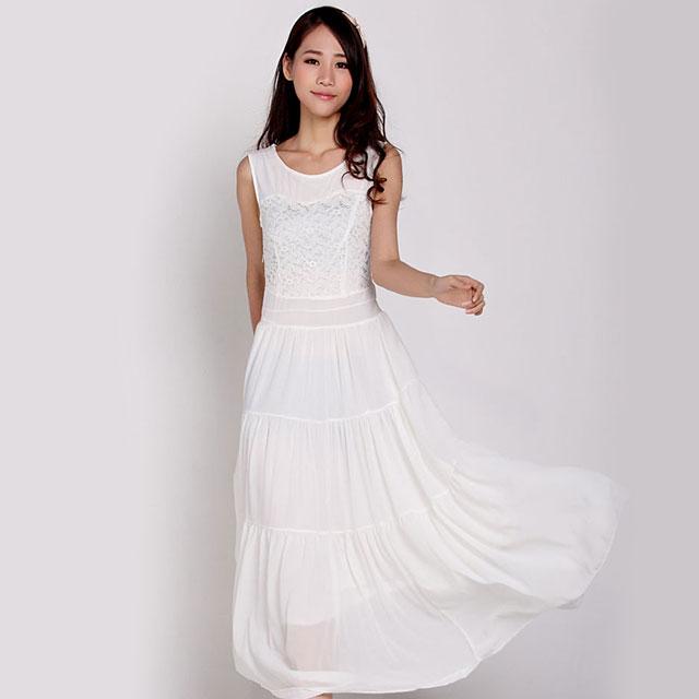 时装周T台秀蕾丝雪纺拼接长款显瘦短袖雪纺连衣裙