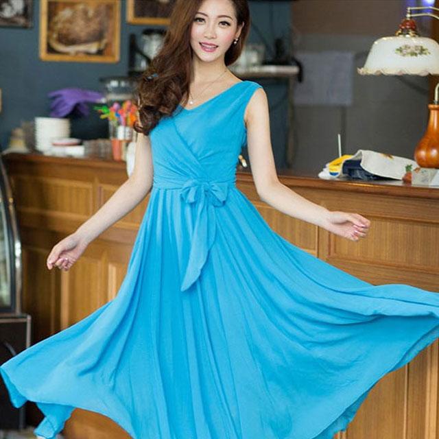 飘逸唯美风格系腰带显瘦无袖雪纺连衣裙
