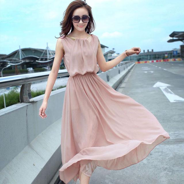 韩版修身无袖波西米亚挂脖雪纺连衣裙