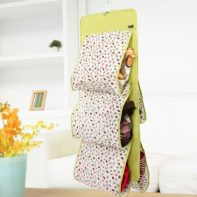 溢彩年华 清新香气可洗棉布5格皮包收纳挂袋 GPR6297