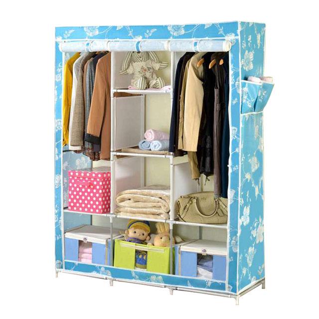 溢彩年华 钢管防水加厚印花布大容量衣柜 BPR5231 蓝色
