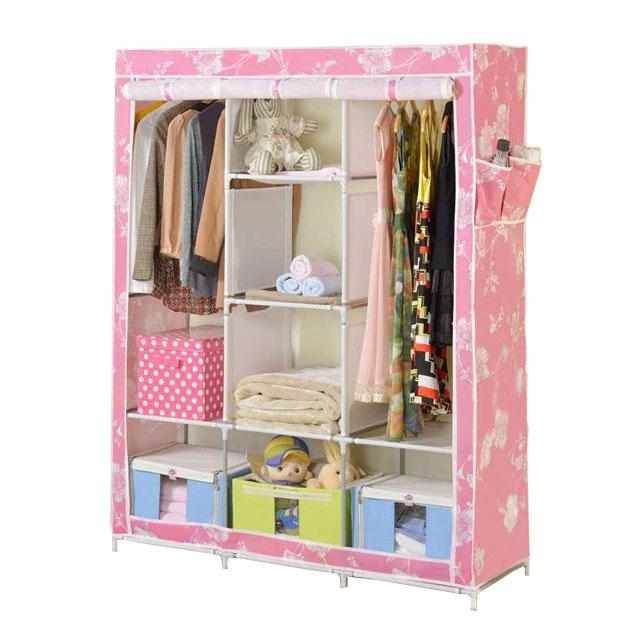 溢彩年华 钢管防水加厚印花布大容量衣柜 BPR5232 粉色
