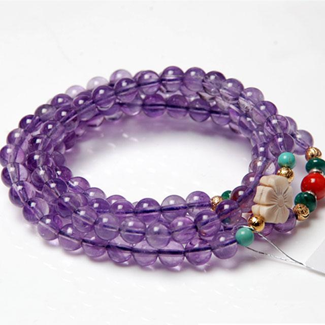 爱亿生 般若梵音天然紫水晶多层缠绕开运手链 960779