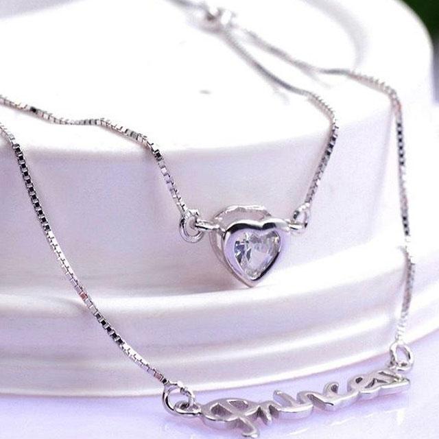 爱亿生 纯银爱心时尚字母锁骨链双层套链