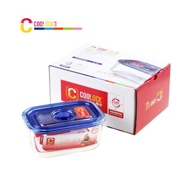 酷扣 COOLOCK 高硼硅 耐热玻璃 按扣式 方形 保鲜盒/饭盒550ml