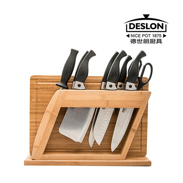 德世朗刀具 啄木鸟十件套 不锈钢 碳化竹刀架 切菜板菜刀厨刀